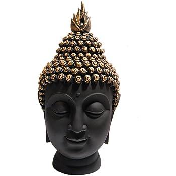 Heeran Art Polyresin Buddha Head Figurine, 8.5 cm x 6 cm x 21 cm,, Black, 1 Piece