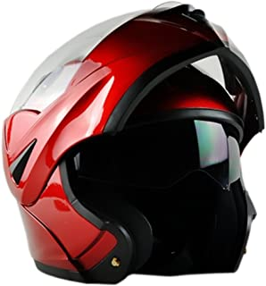 ILM 10 Colors Motorcycle Flip up Modular Helmet DOT(L, Red)