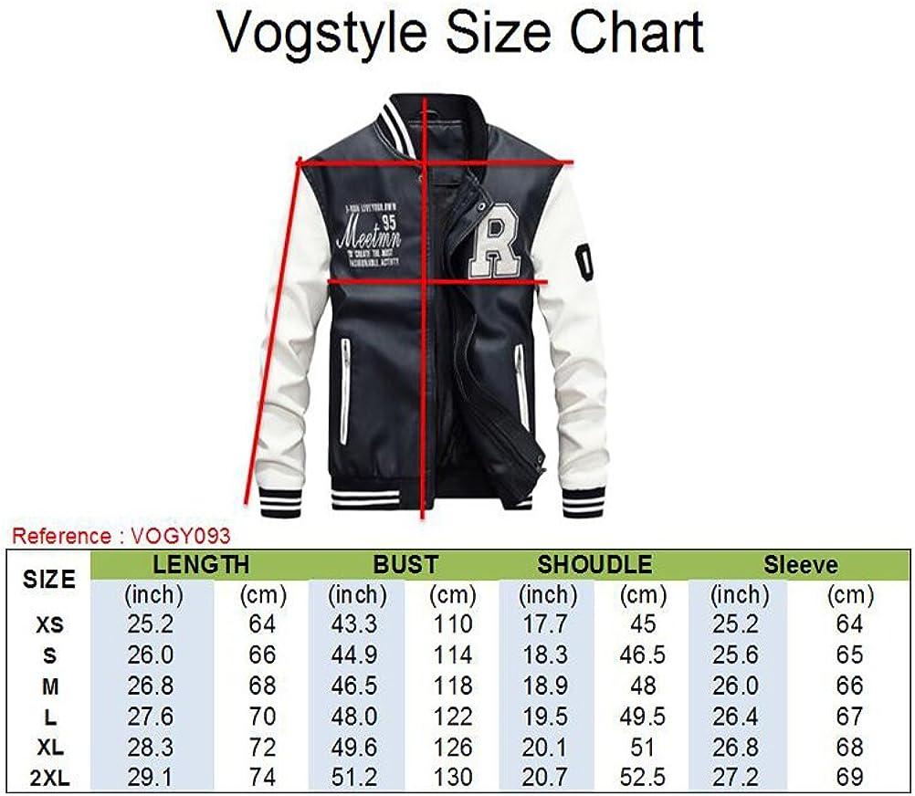 Vogstyle Hommes Vest Casuel Cuir PU Teddy Baseball Blouson avec Doublure Jackets Rouge