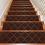 Seloom Stair Treads Carpet Non-Slip with Non Skid Rubber Backing Specialized for Indoor Wooden Steps, Removable Washable Step Runners Perfect for Dogs( Brown1, 15-Pack, 8 x 30 in)