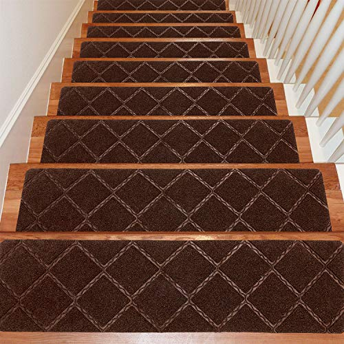 Seloom Stair Treads Carpet Non-Slip with Non Skid Rubber Backing Specialized for Indoor Wooden Steps, Removable Washable Step Runners Perfect for Dogs(Brown1, 15-Pack, 8 x 30 in)