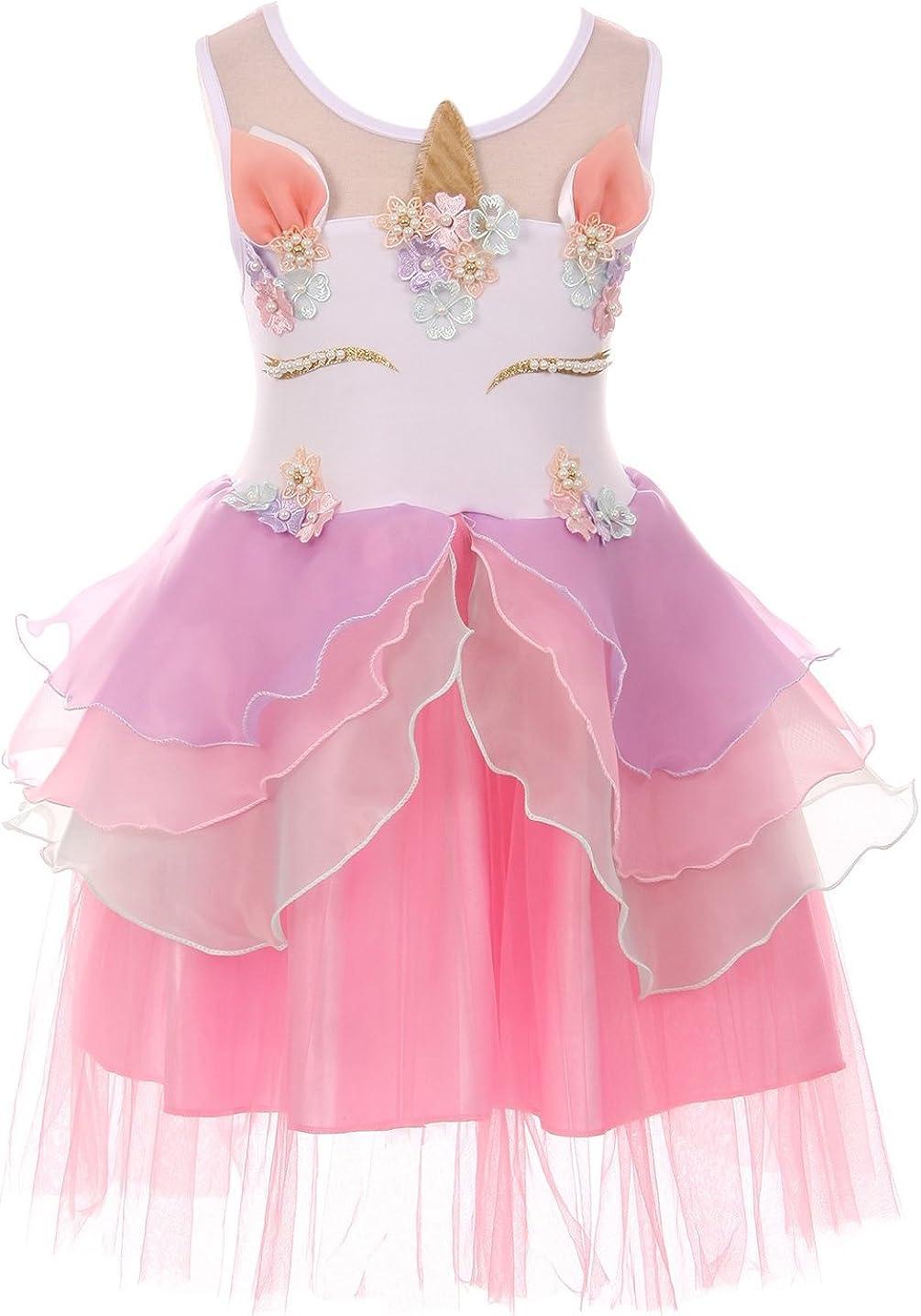 Little Girls Lovely Unicorn Pearl Tutu Tulle Birthday Party Flower Girl Dress