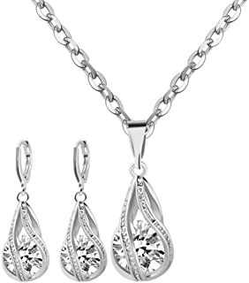 Yuhuan Womens Zircon Pendant Jewelry Set Gold/Silver...