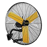 MASTER 24 Inch Oscillating Industrial High Velocity Wall Mount Fan - Direct Drive, All-Metal Construction with Steel-Coated Safety Grill, 3 Speed Settings (MAC-24WOSC)
