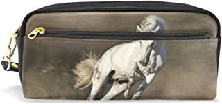 ALAZA White Horse in Dust Pencil Case Zipper PU Leather Pen Bag Cosmetic Makeup Bag Pen Stationery Pouch Bag Large Capacity
