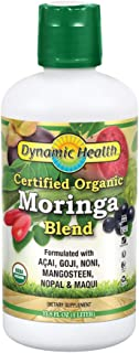 Dynamic Health Certified Organic Moringa Blend Juice | with superfruits Acai, Goji, Mangosteen & Morei | Vegetarian, Gluten-Free | 33.8oz, 33 Serv