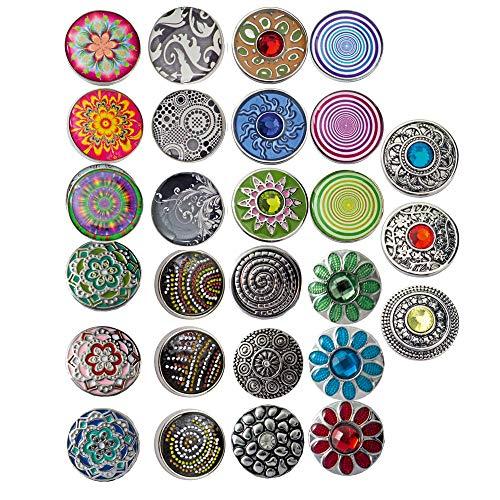 Sunsa Damen Mädchen, Schmuck Geschenke Für Frauen Click-Buttons Druckknöpfe für Chunks Halskette, Armband, Ringe klick Button Set von 27 Druckknopfdesigns tolle Schwester Oma oder Mama Geschenk