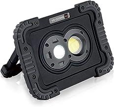 キシマ LED ワークライト 800lm 3段階調整 集光 広範囲 IP65 防水 防塵 電池式 スタンド ハンディ フック 壁 マグネット グレー