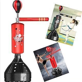 GRXIN Saco De Arena con Barra Vertical Giratoria, Objetivo De Palo Vertical Giratorio Dodge Sanda En Casa, Equipo De Entrenamiento para Niños Adultos Speed Ball, Objetivos Múltiples,Rojo