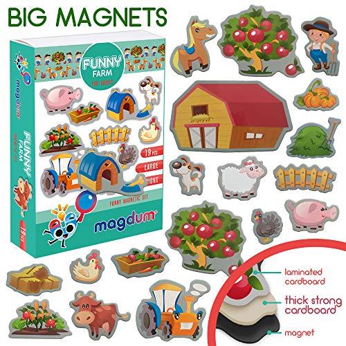 MAGDUM Funny Bauernhof Tiere Set - echte GROßE Kühlschrank Magnete für Kleinkinder- magnetisches Theater Lernspielzeug – Spiele für 3 Jährige – Magnet Spiele für Kinder - Spielzeug Tiere - Magnet Set