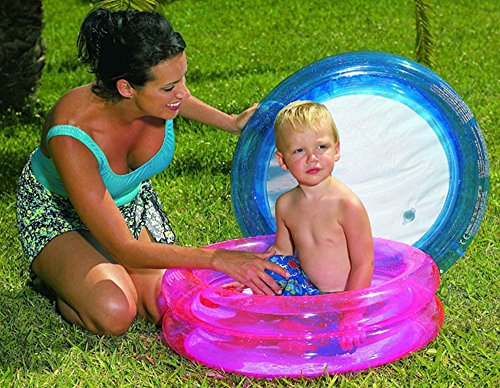 Jlong Idea Estate: Piscina tonda rosa per gioco bimbi mare spiaggia giardino; cm 62*19 a due anelli