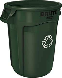 Rubbermaid Commercial Products 1926828 Brute Heavy-Duty Round Recycling/Composting Bin, 20-Gallon, Green Recycling