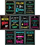 Motivational Posters for Classroom & Office Decorations | Inspirational Quote Wall Art for Teachers, Students, School Counselors, Home & Office | Set of 10 Creative Chalkboard Designs (Set Two)