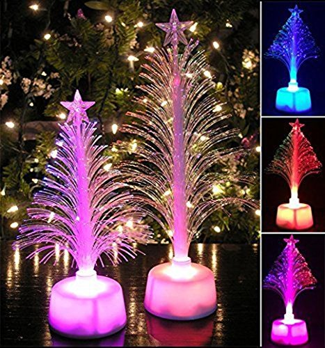 Coohole Merry Christmas LED Color Changing Mini Xmas Tree Home Table Party Charm Decor (White)