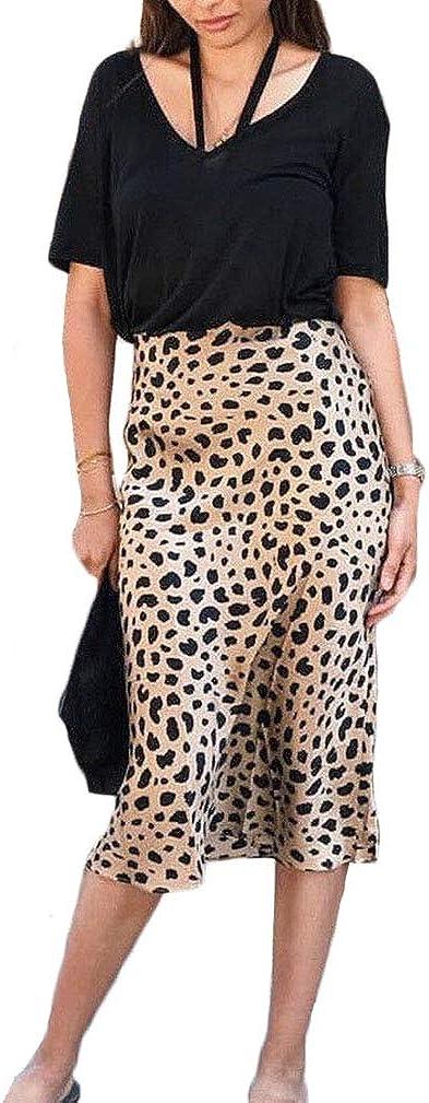 Glosun Women's Casual Bodycon Midi Skirt Leopard Print High Waist Knee Length Skirt