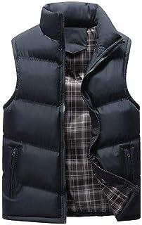 メンズスティッキングクラシックノースリーブスタンドカラーソリッドカラーサイドポケットキルティングベストアウター (色 : 濃紺, サイズ さいず : XL)