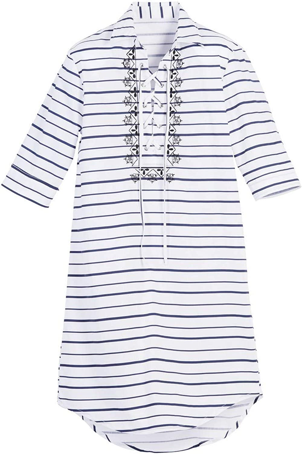 Beachcombers Women Cotton Polyester Striped Caftan Cover Up White Extra Large