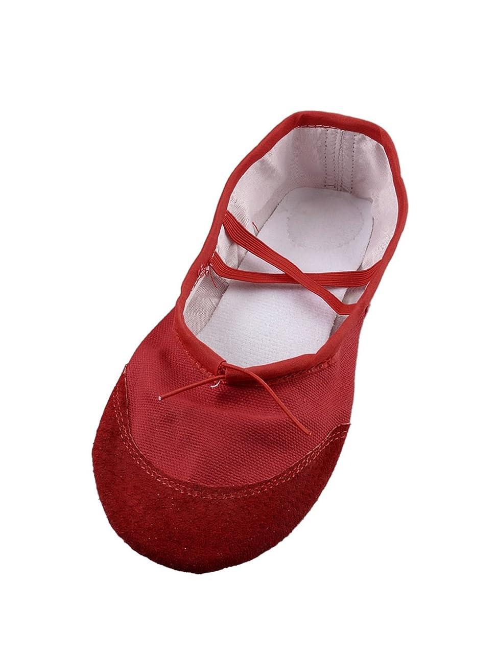 スチール壁紙お願いしますuxcell バレエシューズ ダンシングフラット靴 レッド ゴムバンド 合皮 キャンバス製 UK 3.5 女性用