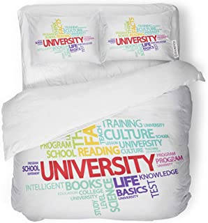 SanChic Duvet Cover Set Red Education Colorful Info Text Graphics Word Cloud Decorative Bedding Set with 2 Pillow Cases King Size