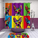 SARA NELL Shower Curtain and Rug Set Painted Chihuahua Shower Curtain Fabric Waterproof Fabric Bathroom Curtain Set with 12 Hooks - 72 x 72 Inch