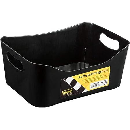 Idena 10865 – Boîte de rangement en plastique robuste pour organiser la maison et le travail, env. 23 x 17 x 10 cm, noir