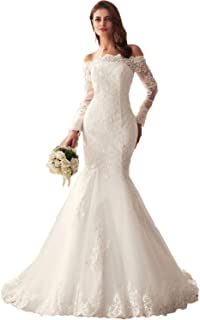 17f08ea7cb357 2019 Lace Mermaid Wedding Dresses Applique Beaded Long Sleeve Bridal Gowns  Formal