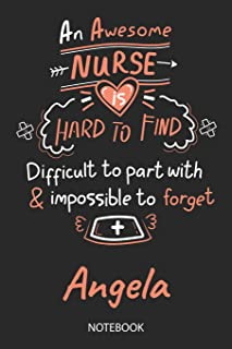 Angela - Notebook: Blank Personalized Customized Name Registered Nurse Notebook Journal Wide Ruled for Women. Nurse Quote ...