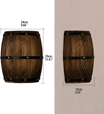 Newrays Antique 2 Pack Wood Wine Barrel Wall Sconce Lighting Fixture Up and Down Indoor Wall Lamps for Bar Area Steampunk The