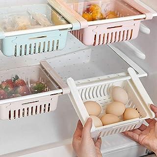 4 Pieces Retractable Fridge Drawer Organisers,Refrigerator Storage Box Holder Food Organizer,Space Saving Storage Fridge S...