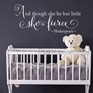 Diggoo Shakespeare Quote and Though She Be But Little She is Fierce Wall Decal Baby Girl Nursery Wall Decor (White,17.5