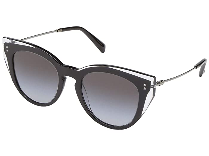 Valentino 0VA4051 (Black/Crystal/Gradient Black) Fashion Sunglasses