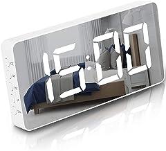 Digitale wekker voor slaapkamer decor grote gespiegelde LED-display Snooze-functie werkdagen alarm naast klok