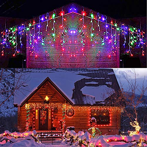 DEPOVOR LED Icicle Lights 32.8ft 400 LED 8 Modes Outdoor Christmas Lights for Christmas/Easter/Thanksgiving/Halloween/Wedding Decorations (Multicolor)