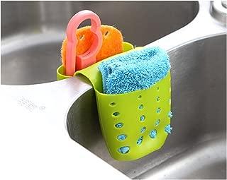 TXIN Sink Hanging Drain Basket, Double Sponge Sink Holder Silicone Kitchen Gadget Storage Organizer, Green