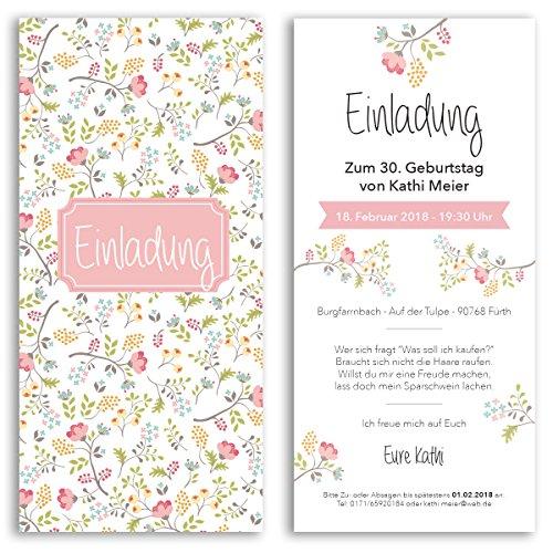 (10 x) Einladungskarten Geburtstag Blumen Pink Rosa Eintrittskarte Einladungen