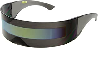 zeroUV - نظارات شمسية من Cyberpunk كبيرة مستقبلية في الثمانينات مع عدسة شبه عاكسة شبه شفافة