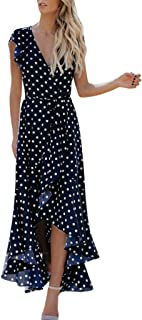 Polka Dot Print Dress V-Neck Irregular Lacing Boho Mini Dress High Waist Strap Summer Dress MEEYA