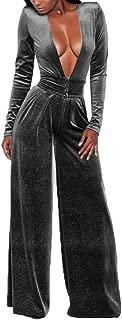 Women Elegant Velvet Deep V-Neck Flare Bell Bottom Long Pants Party Jumpsuit Romper Clubwear