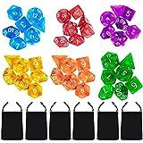 42 Piezaspoliédrico Dados Conjunto con Bolsas 7 Estilo D4 D6 D8 2D10 D12 D20 para Dungeons and Dragons Juego en el Partido de matemáticas (6*7)