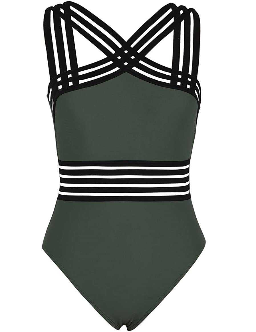 Hilor Women's One Piece Swimwear Front Crossover Swimsuits Hollow Bathing Suits Monokinis