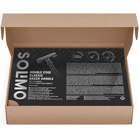 Marca Amazon - Solimo Maquinilla de doble filo clásica con 100 cuchillas