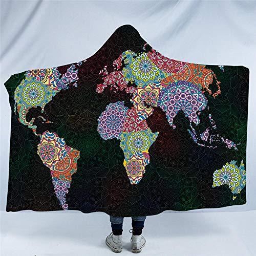 WWTZ Carte du Monde à Capuche Couverture Fleurs Mandala Sherpa Polaire Wearable Blanket Good Vibe Colorful Boho Throw Blanket