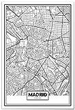 Panorama Poster Karte von Madrid 35x50 cm - Gedruckt auf