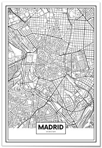 Panorama Póster Mapa de Madrid 35x50cm - Impreso en Papel 250gr - Póster Pared - Cuadros Decoración Salón - Cuadros para Dormitorio - Póster Decorativos - Cuadros Modernos