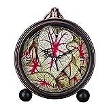 girlsight Art Retro - Reloj despertador para sala de estar decorativo, fácil de leer, cuarzo, analógico, mesa de noche, reloj despertador, esfera floral, color blanco, verde, rosa
