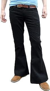 Fuzzdandy - Pantaloni da uomo a vita alta, in velluto a coste nero, Mod Hippy