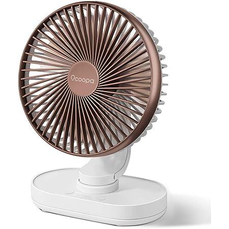 OCOOPA Ventilateur de Bureau, Auto Oscillant Ventilateur à Batterie Silencieux de 6,5 Pouces, 4 Vitesses Refroidissement de la Table, 4000 mAh USB Rechargeable Fonctionnement sur Batterie ,Brown