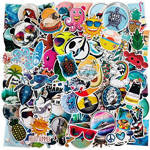 50-300pc Packs of Classic Retro Holiday & Vacation Vinyl Stickers – Beach, Campervans, Hawaii, Palm Trees, Pineapples, Sand, Sea, Shells, Sun, Surfing & Turtles