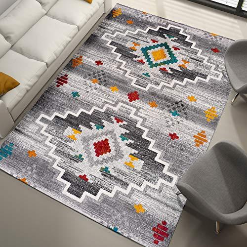 Universal Alfombra étnica Badari Azteca Multicolor, 100% Polipropileno Heat-Set Frise, 160 x 230 cm