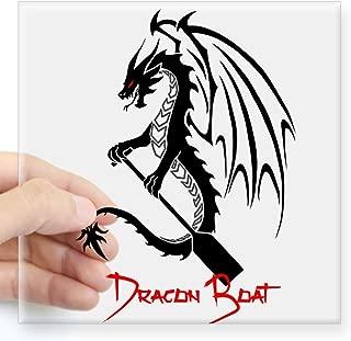 CafePress Dragon Boat Red Text Sticker Square Bumper Sticker Car Decal, 3